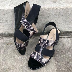 Ellen Tracy Idol Snakeskin Wedge Sandals 7.5